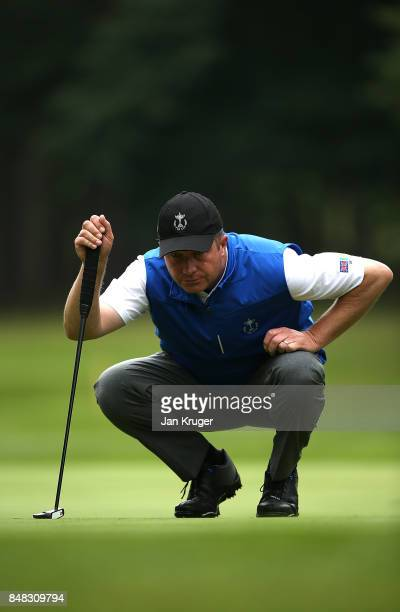 Greig Hutcheon of the Great Britain and Ireland PGA Cup team in action during the singles matches on the final day of the 28th PGA Cup at Foxhills...