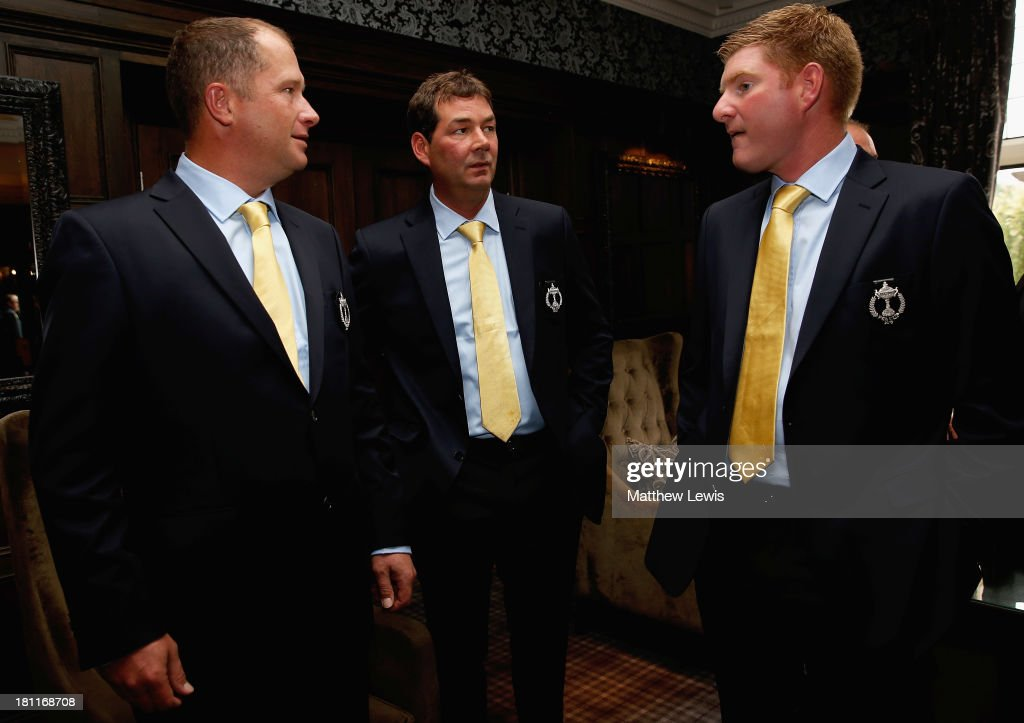 Greig Hutcheon, Scott Henderson and Gareth Wright of Great Britain and Ireland talk ahead of the opening ceremony ahead of the 26th PGA Cup at De Vere Slaley Hall on September 19, 2013 in Hexham, England.