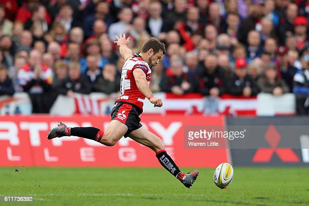 Greig Laidlaw Captain Gloucester Rugby kicks at goal during the Aviva Premiership match between Gloucester Rugby and Bath Rugby at Kingsholm Stadium...