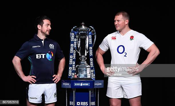 Greig Laidlaw captain of Scotland and Dylan Hartley captain of England pose with the trophy during the RBS Six Nations launch at The Hurlingham Club...