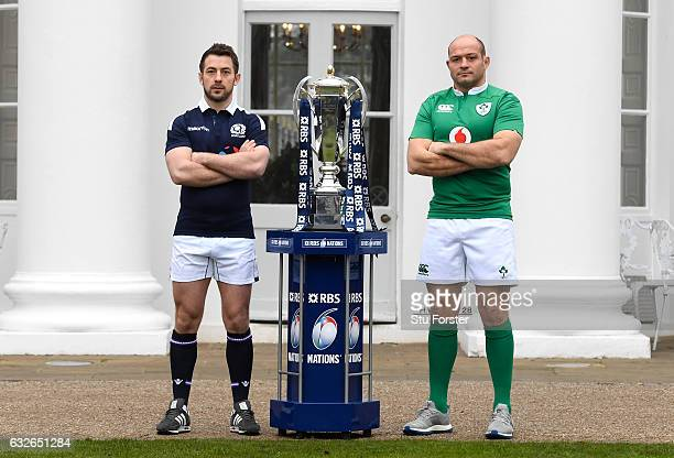 Greig Laidlaw Captain of Scotland and Rory Best Captain of Ireland pose with The Six Nations Trophy during the 2017 RBS Six Nations launch at The...