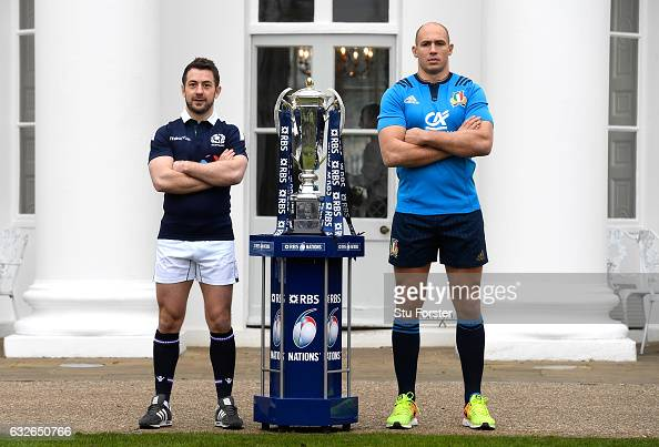 Greig Laidlaw Captain of Scotland and Sergio Parisse Captain of Italy pose with The Six Nations Trophy during the 2017 RBS Six Nations launch at The...