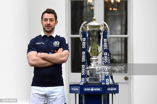 Greig Laidlaw Captain of Scotland poses with the Six Nations Trophy during the 2017 RBS Six Nations launch at The Hurlingham Club on January 25 2017...