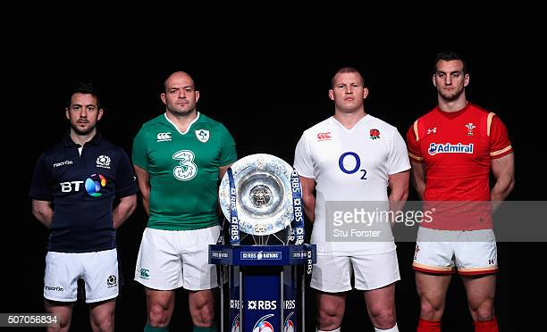 Greig Laidlaw captain of Scotland Rory Best captain of Ireland Dylan Hartley captain of England and Sam Warburton captain of Wales pose with the...