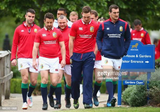 Greig Laidlaw George North and Sam Warburton during a British and Irish Lions photo call at London Syon Park Hotel on May 8 2017 in London England