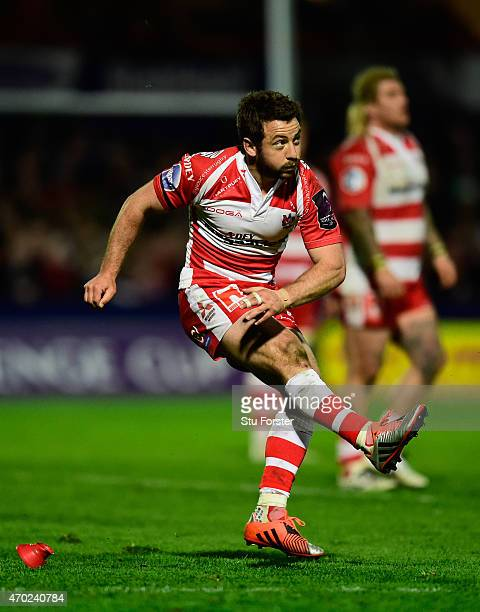 Greig Laidlaw of Gloucester kicks at goal during the European Rugby Challenge Cup semi final match between Gloucester Rugby and Exeter Chiefs at...