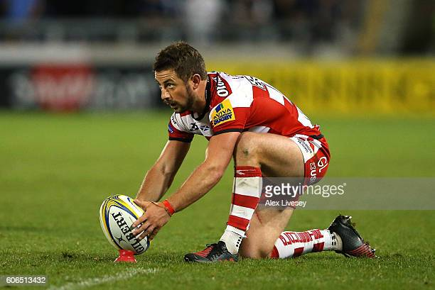 Greig Laidlaw of Gloucester Rugby lines up a penalty kick during the Aviva Premiership match between Sale Sharks and Gloucester Rugby at AJ Bell...