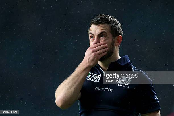 Greig Laidlaw of Scotland looks dejected after the 2015 Rugby World Cup Quarter Final match between Australia and Scotland at Twickenham Stadium on...
