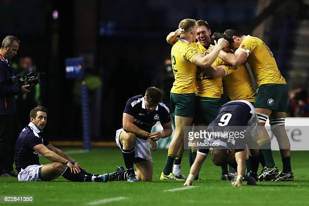 Greig Laidlaw of Scotland looks on as Reece Hodge Nick Phipps and Tom Robertson of Australia celebrates at full time during the Scotland v Australia...