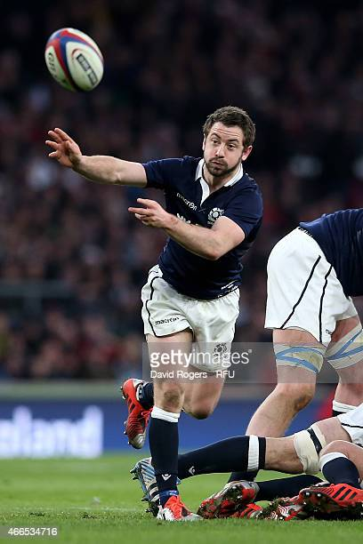 Greig Laidlaw of Scotland passes the ball during the RBS Six Nations match between England and Scotland at Twickenham Stadium on March 14 2015 in...