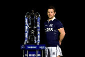 Greig Laidlaw of Scotland poses with the trophy during the launch of the 2015 RBS Six Nations at the Hurlingham club on January 28 2015 in London...