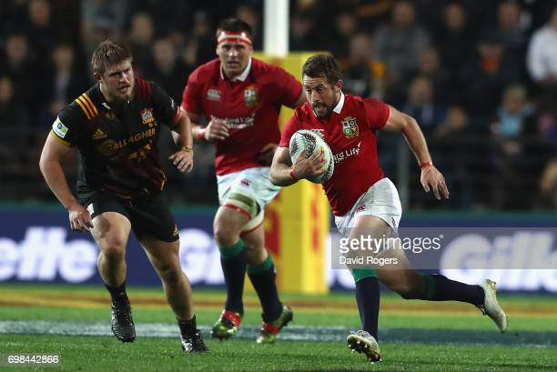 Greig Laidlaw of the Lions charges upfield during the match between the Chiefs and the British Irish Lions at Waikato Stadium on June 20 2017 in...