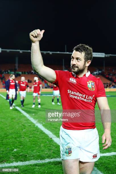 Greig Laidlaw of the Lions thanks the crowd after winning the match between the Chiefs and the British Irish Lions at Waikato Stadium on June 20 2017...