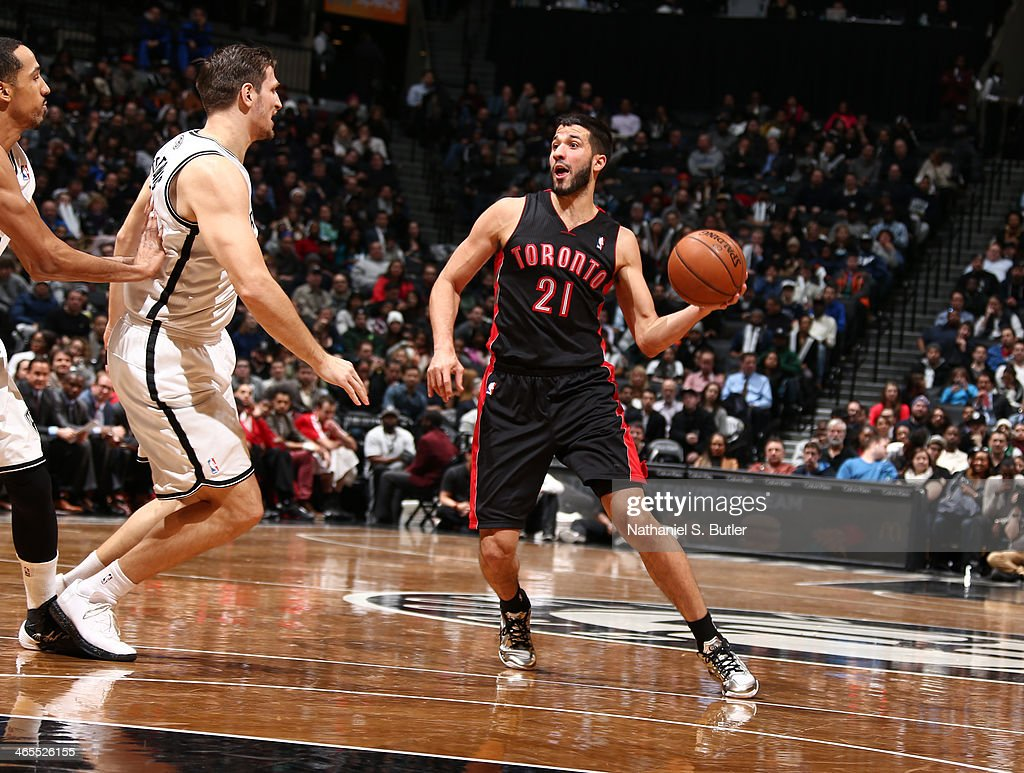 <a gi-track='captionPersonalityLinkClicked' href=/galleries/search?phrase=Greivis+Vasquez&family=editorial&specificpeople=4066977 ng-click='$event.stopPropagation()'>Greivis Vasquez</a> looks to pass against Mirza Teletovic #33 of the Brooklyn Nets during a game at Barclays Center in Brooklyn.