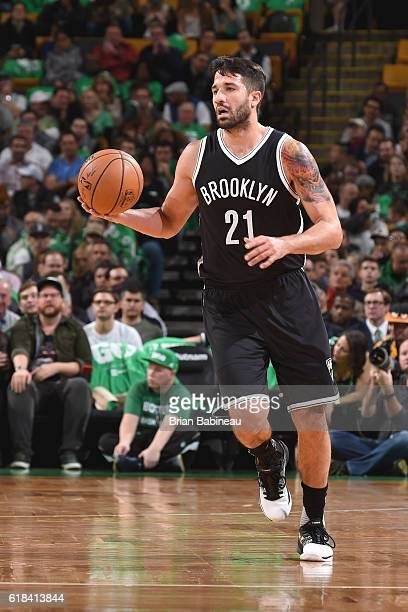 Greivis Vasquez of the Brooklyn Nets handles the ball against the Boston Celtics on OCTOBER 26 2016 at the TD Garden in Boston Massachusetts NOTE TO...