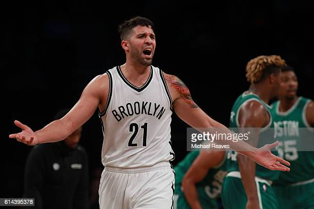 Greivis Vasquez of the Brooklyn Nets reacts during the second half of the preseason game against the Boston Celtics at Barclays Center on October 13...