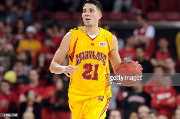 Greivis Vasquez of the Maryland Terrapins brings the ball up the court against the Virginia Cavaliers at the Comcast Center on February 15 2010 in...