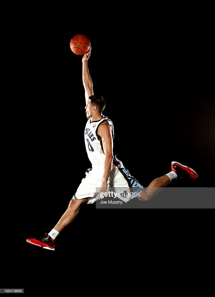 <a gi-track='captionPersonalityLinkClicked' href=/galleries/search?phrase=Greivis+Vasquez&family=editorial&specificpeople=4066977 ng-click='$event.stopPropagation()'>Greivis Vasquez</a> #21 of the Memphis Grizzlies poses for a portrait after a press conference to introduce the draft picks on June 25, 2010 at FedExForum in Memphis, Tennessee.