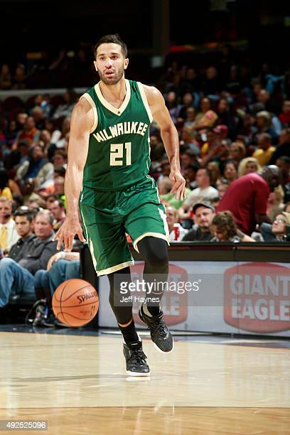 Greivis Vasquez of the Milwaukee Bucks brings the ball up court against the Cleveland Cavaliers on October 13 2015 at Quicken Loans Arena in...