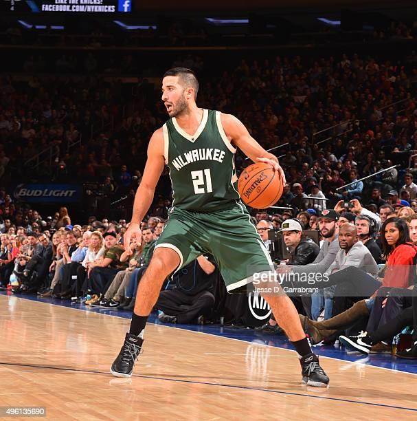 Greivis Vasquez of the Milwaukee Bucks dribbles the ball against the New York Knicks at Madison Square Garden on November 6 2015 in New YorkNew York...