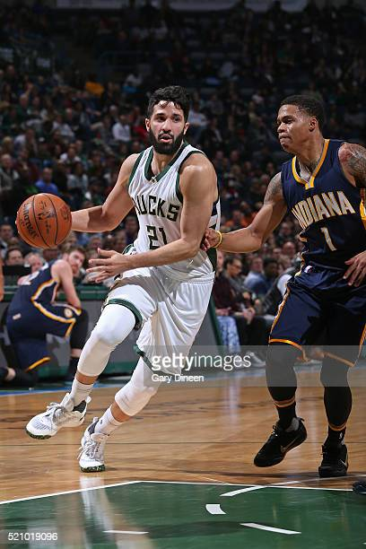 Greivis Vasquez of the Milwaukee Bucks drives to the basket against the Indiana Pacers on April 13 2016 at the BMO Harris Bradley Center in Milwaukee...
