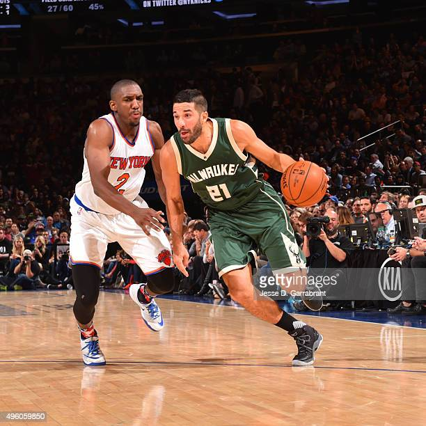 Greivis Vasquez of the Milwaukee Bucks drives up the basket against the New York Knicks at Madison Square Garden on November 6 2015 in New YorkNew...