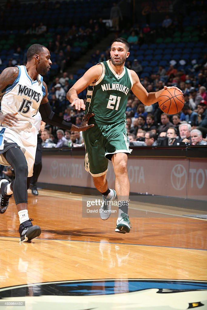 Greivis Vasquez of the Milwaukee Bucks handles the ball against the Minnesota Timberwolves during a preseason game on October 23 2015 at Target...