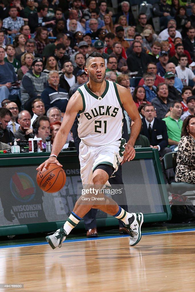 Greivis Vasquez of the Milwaukee Bucks handles the ball against the New York Knicks on October 28 2015 at the BMO Harris Bradley Center in Milwaukee...