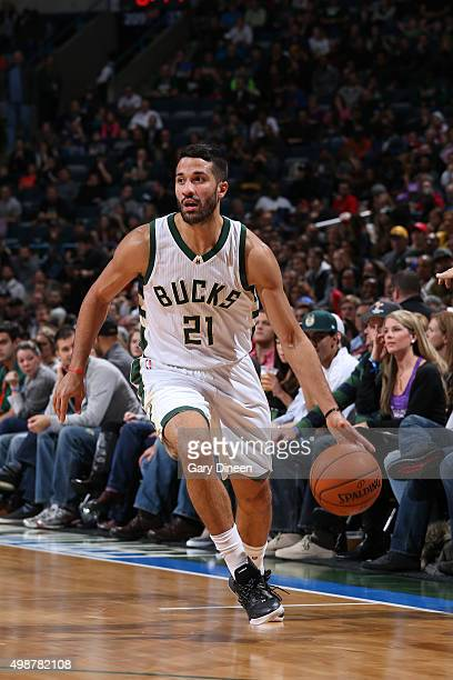Greivis Vasquez of the Milwaukee Bucks handles the ball against the Sacramento Kings on November 25 2015 at the BMO Harris Bradley Center in...