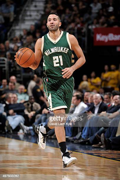 Greivis Vasquez of the Milwaukee Bucks handles the ball during the game against the Cleveland Cavaliers on November 19 2015 at Quicken Loans Arena in...