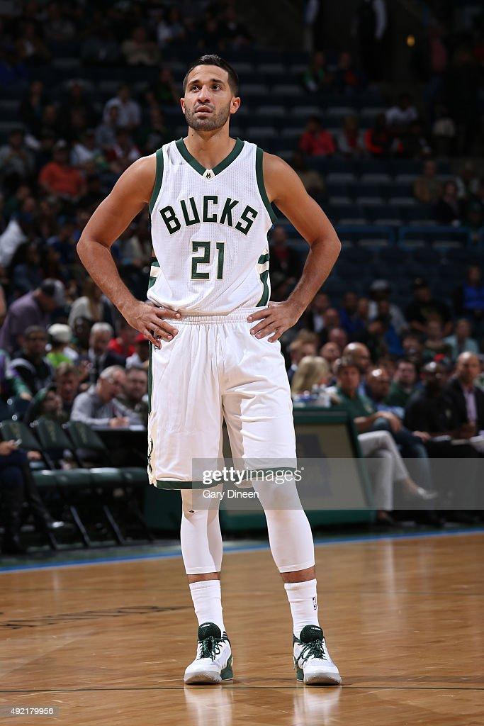 Greivis Vasquez of the Milwaukee Bucks looks on against the Detroit Pistons on October 10 2015 at the BMO Harris Bradley Center in Milwaukee...