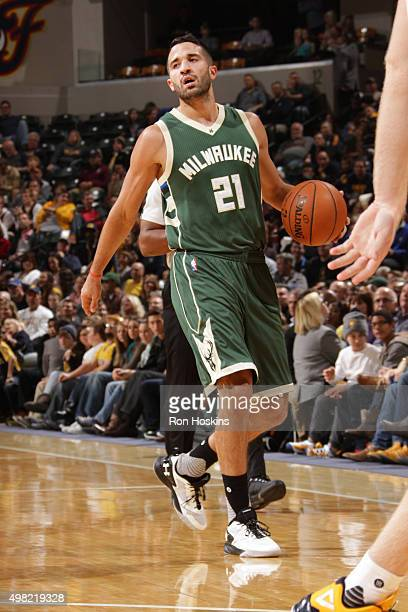 Greivis Vasquez of the Milwaukee Bucks moves the ball against the Indiana Pacers during the game on November 21 2015 at Bankers Life Fieldhouse in...
