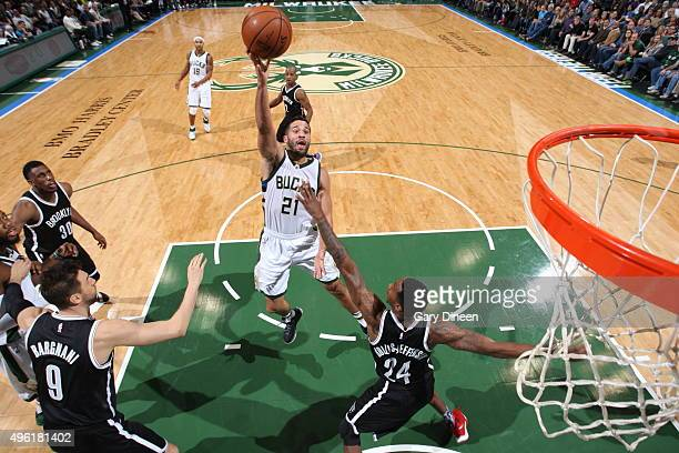 Greivis Vasquez of the Milwaukee Bucks shoots against the Brooklyn Nets on November 7 2015 at the BMO Harris Bradley Center in Milwaukee Wisconsin...