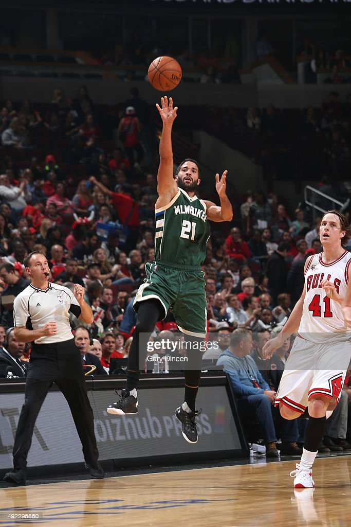 Greivis Vasquez of the Milwaukee Bucks shoots the ball against the Chicago Bulls during a preseason game on October 6 2015 at the United Center in...