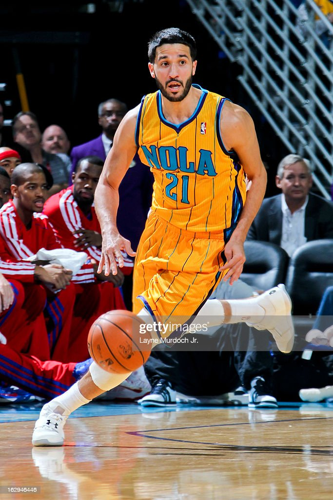 Greivis Vasquez #21 of the New Orleans Hornets advances the ball against the Detroit Pistons on March 1, 2013 at the New Orleans Arena in New Orleans, Louisiana.