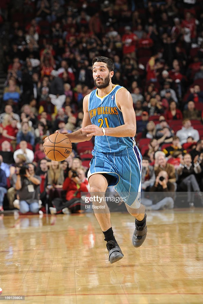 <a gi-track='captionPersonalityLinkClicked' href=/galleries/search?phrase=Greivis+Vasquez&family=editorial&specificpeople=4066977 ng-click='$event.stopPropagation()'>Greivis Vasquez</a> #21 of the New Orleans Hornets brings the ball up court against the Houston Rockets on January 2, 2013 at the Toyota Center in Houston, Texas.