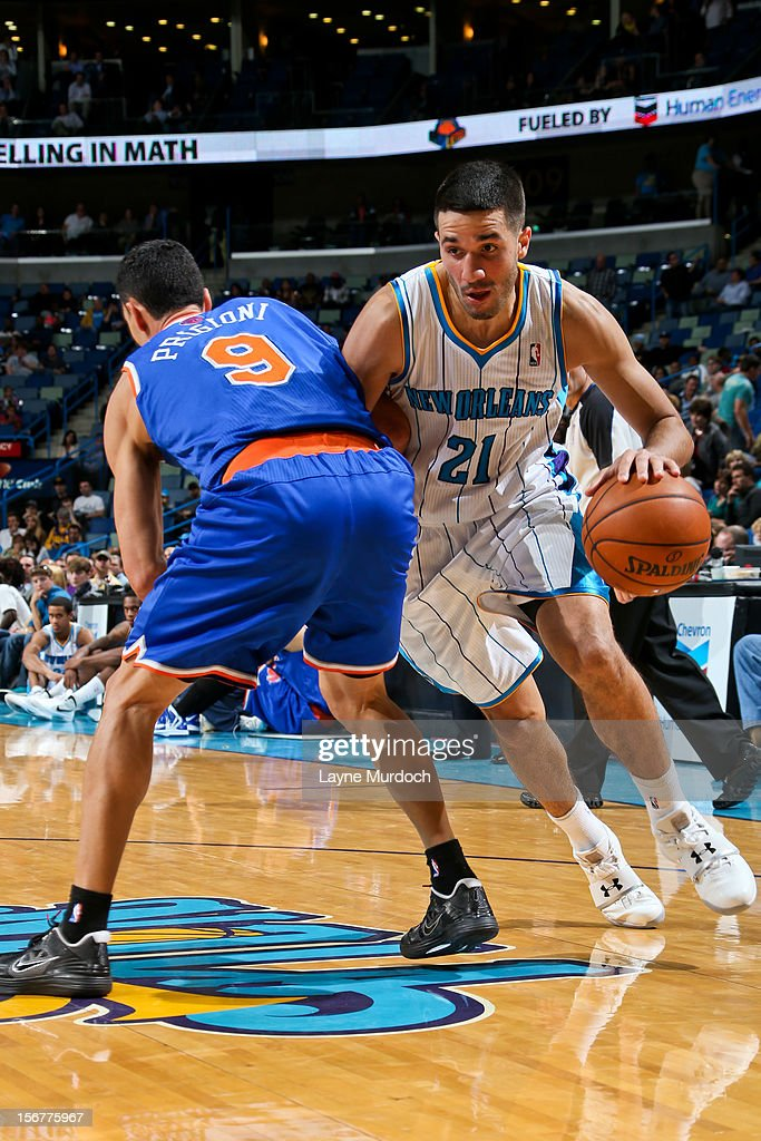 Greivis Vasquez #21 of the New Orleans Hornets drives against Pablo Prigioni #9 of the New York Knicks on November 20, 2012 at the New Orleans Arena in New Orleans, Louisiana.