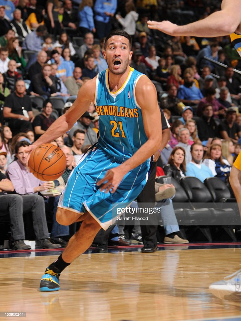 Greivis Vasquez #21 of the New Orleans Hornets drives the ball during the game between the New Orleans Hornets and the Denver Nuggets on November 25, 2012 at the Pepsi Center in Denver, Colorado.