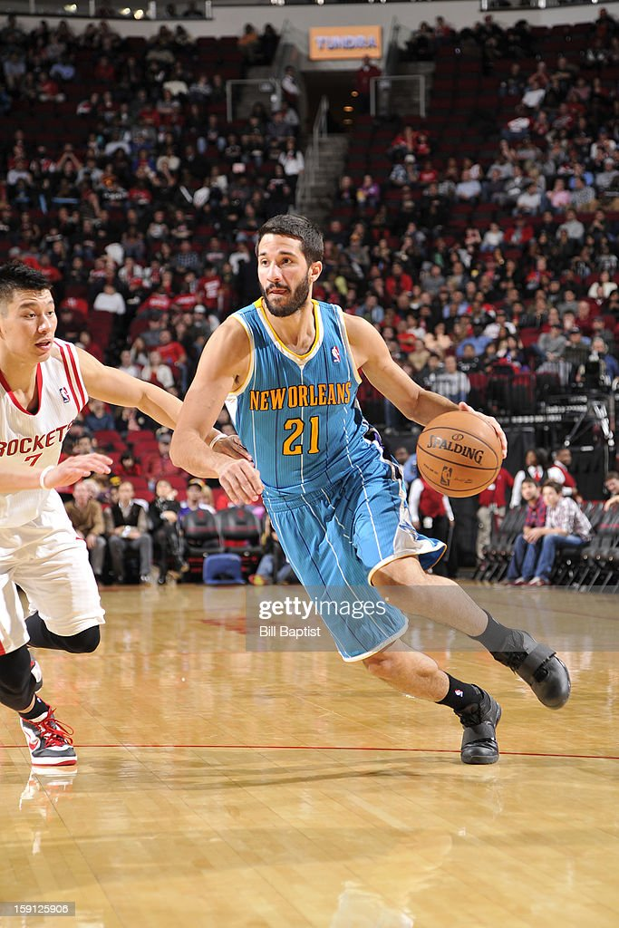 <a gi-track='captionPersonalityLinkClicked' href=/galleries/search?phrase=Greivis+Vasquez&family=editorial&specificpeople=4066977 ng-click='$event.stopPropagation()'>Greivis Vasquez</a> #21 of the New Orleans Hornets drives to the basket against the Houston Rockets on January 2, 2013 at the Toyota Center in Houston, Texas.