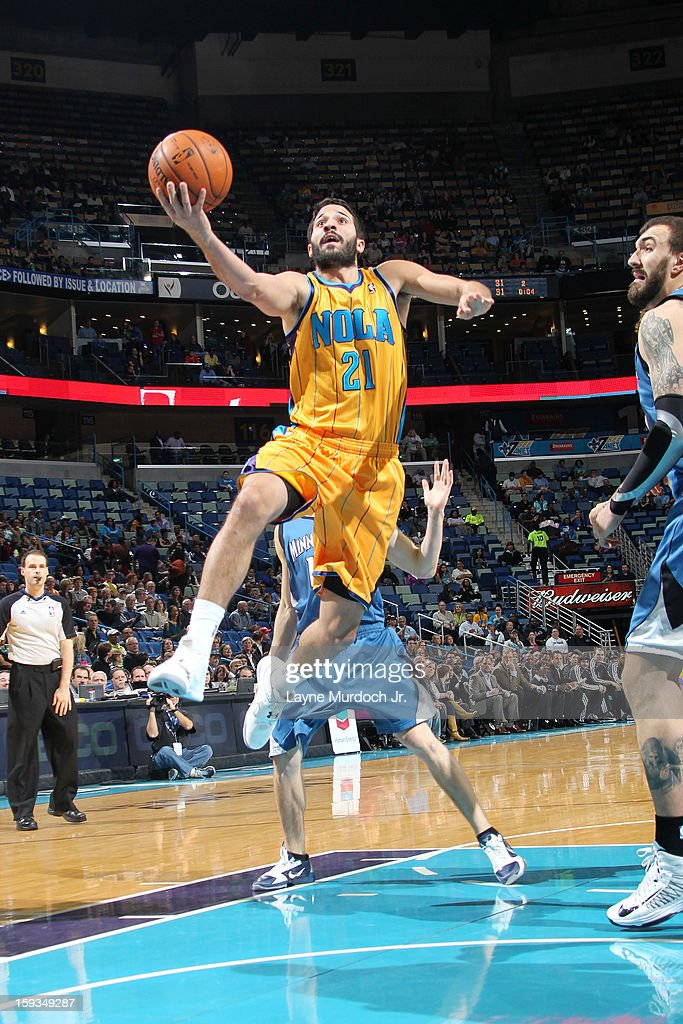 Greivis Vasquez #21 of the New Orleans Hornets drives to the basket against the Minnesota Timberwolves on January 11, 2013 at the New Orleans Arena in New Orleans, Louisiana.