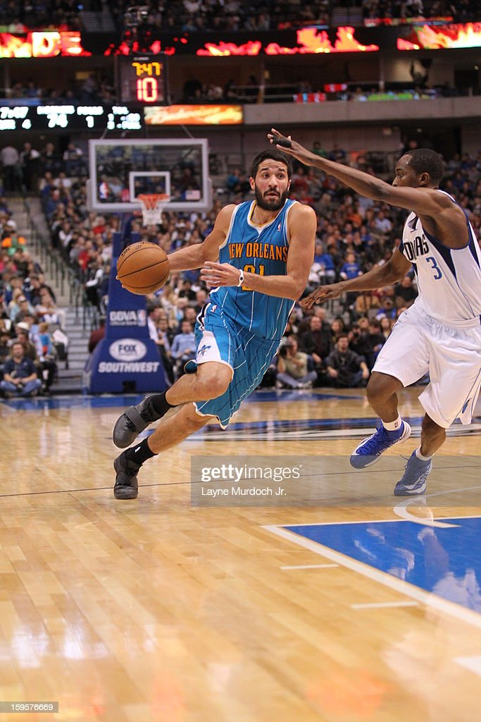<a gi-track='captionPersonalityLinkClicked' href=/galleries/search?phrase=Greivis+Vasquez&family=editorial&specificpeople=4066977 ng-click='$event.stopPropagation()'>Greivis Vasquez</a> #21 of the New Orleans Hornets drives to the basket against the Dallas Mavericks on January 05, 2012 at the American Airlines Center in Dallas, Texas.