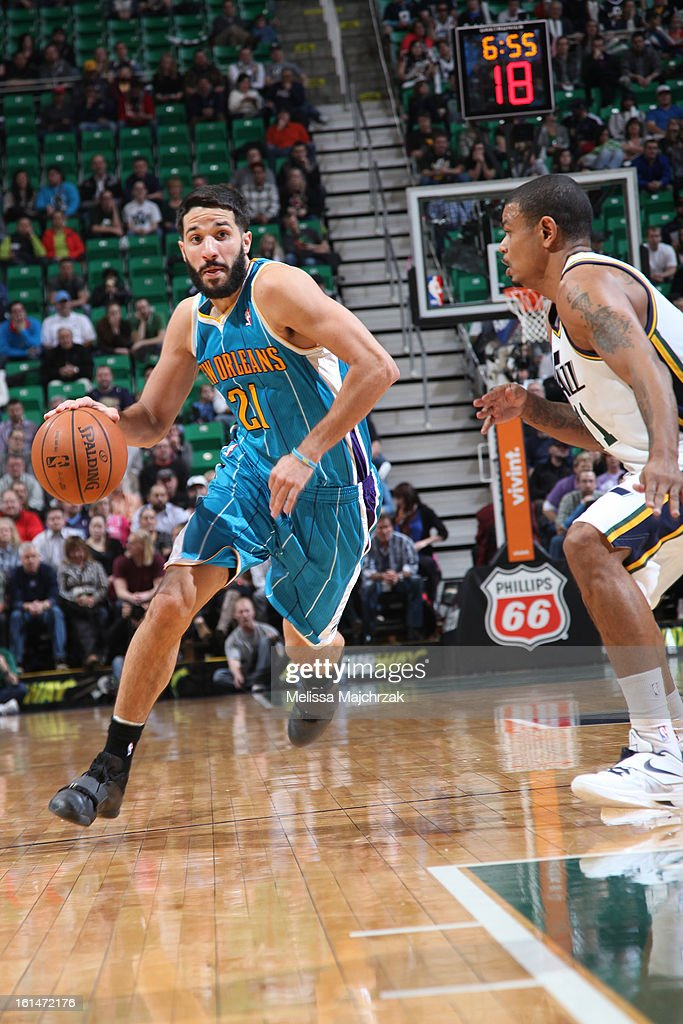 Greivis Vasquez #21 of the New Orleans Hornets drives to the basket against the Utah Jazz at Energy Solutions Arena on January 30, 2013 in Salt Lake City, Utah.
