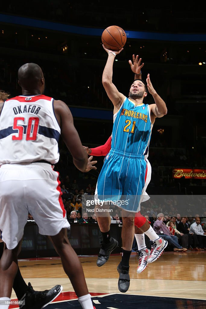 <a gi-track='captionPersonalityLinkClicked' href=/galleries/search?phrase=Greivis+Vasquez&family=editorial&specificpeople=4066977 ng-click='$event.stopPropagation()'>Greivis Vasquez</a> #21 of the New Orleans Hornets drives to the basket against the Washington Wizards at the Verizon Center on March 15, 2013 in Washington, DC.