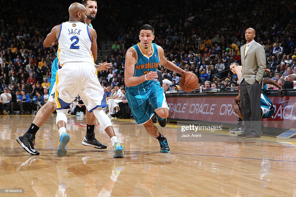 Greivis Vasquez #21 of the New Orleans Hornets drives to the basket against the Golden State Warriors on April 3, 2013 at Oracle Arena in Oakland, California.