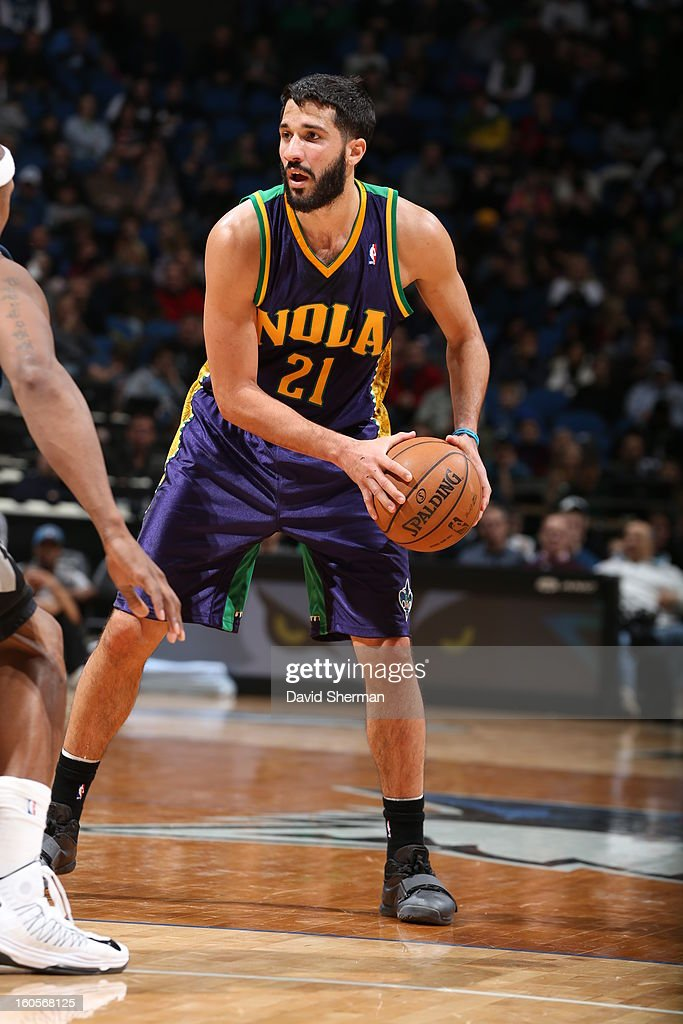 <a gi-track='captionPersonalityLinkClicked' href=/galleries/search?phrase=Greivis+Vasquez&family=editorial&specificpeople=4066977 ng-click='$event.stopPropagation()'>Greivis Vasquez</a> #21 of the New Orleans Hornets handles the ball against the Minnesota Timberwolves on February 2, 2013 at Target Center in Minneapolis, Minnesota.