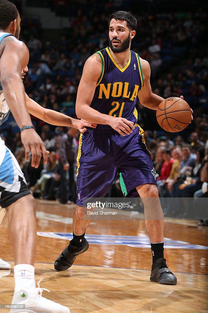Greivis Vasquez #21 of the New Orleans Hornets handles the ball against the Minnesota Timberwolves on February 2, 2013 at Target Center in Minneapolis, Minnesota.