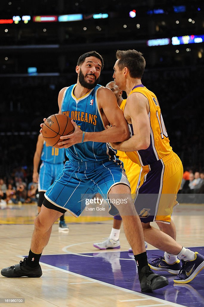 Greivis Vasquez #21 of the New Orleans Hornets looks to drive to the basket against the Los Angeles Lakers at Staples Center on January 29, 2013 in Los Angeles, California.