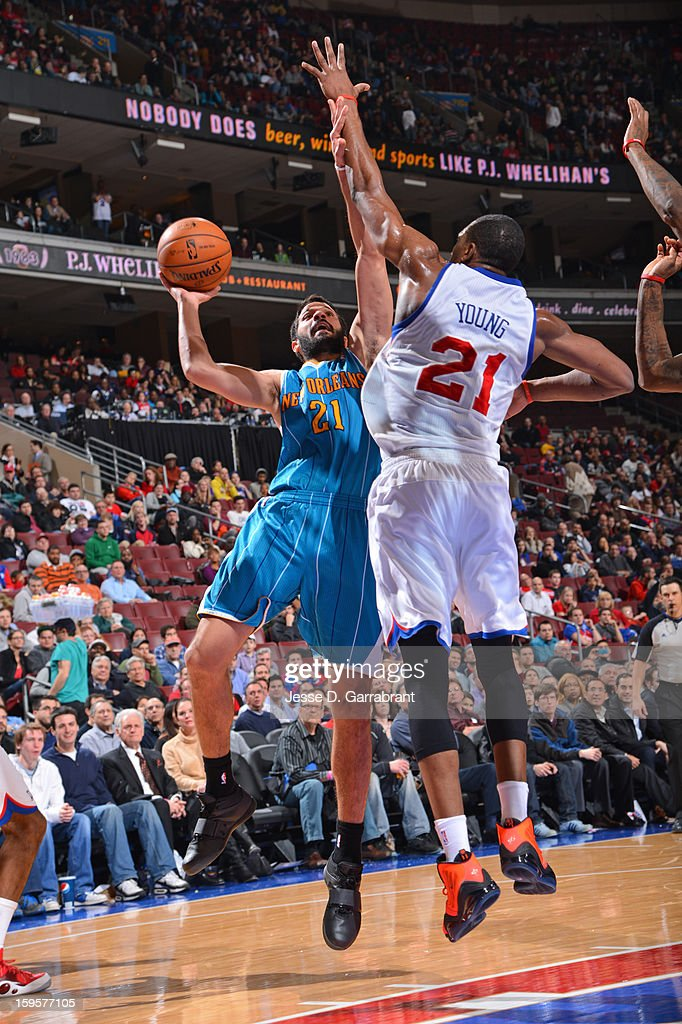 Greivis Vasquez #21 of the New Orleans Hornets puts up a shot against the Philadelphia 76ers at the Wells Fargo Center on January 15, 2013 in Philadelphia, Pennsylvania.