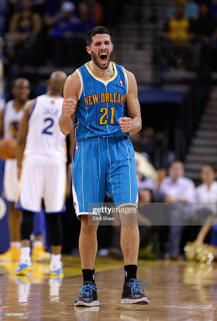 <a gi-track='captionPersonalityLinkClicked' href=/galleries/search?phrase=Greivis+Vasquez&family=editorial&specificpeople=4066977 ng-click='$event.stopPropagation()'>Greivis Vasquez</a> #21 of the New Orleans Hornets reacts during their game against the Golden State Warriors at Oracle Arena on December 18, 2012 in Oakland, California.