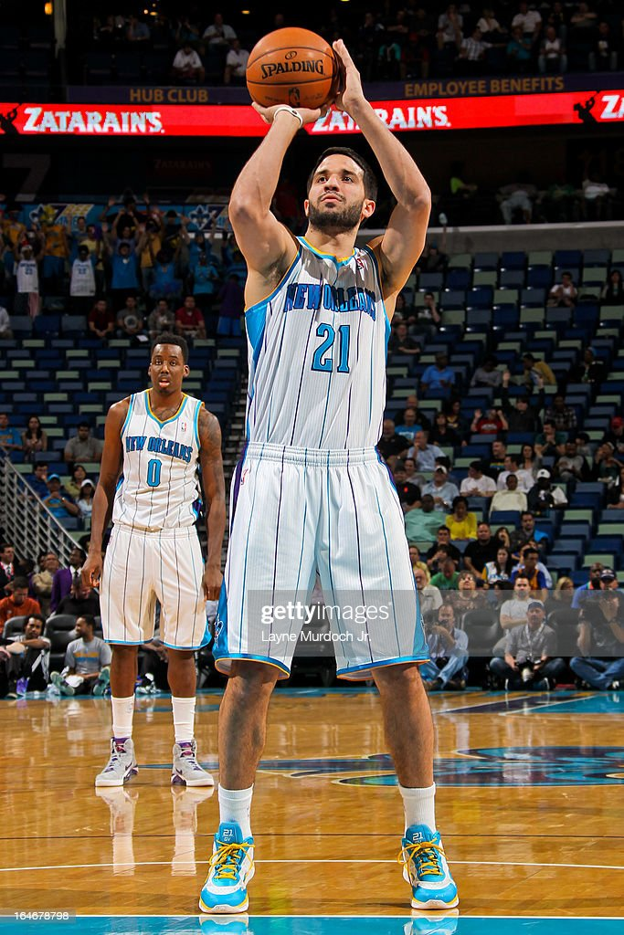 Greivis Vasquez #21 of the New Orleans Hornets shoots a free-throw against the Golden State Warriors on March 18, 2013 at the New Orleans Arena in New Orleans, Louisiana.